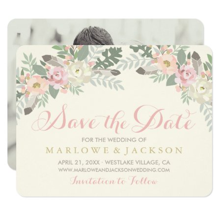 Wedding Save The Date Card | Spring Boho Florals