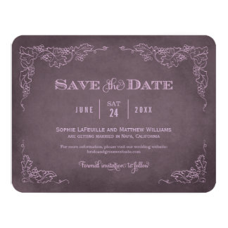 "Wedding Save the Date Card | Vintage Wine 4.25"" X 5.5"" Invitation Card"