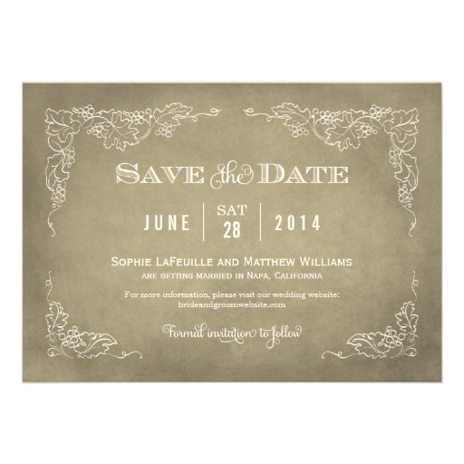 Wedding Save The Date Card Vintage Wine 5 X 7 Invitation Card