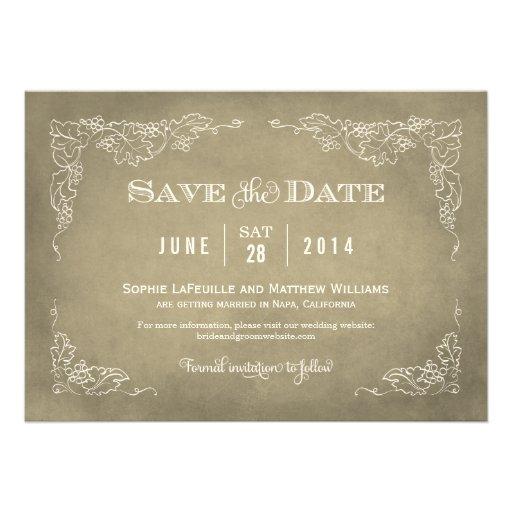Wedding Save the Date Card | Vintage Wine Vineyard