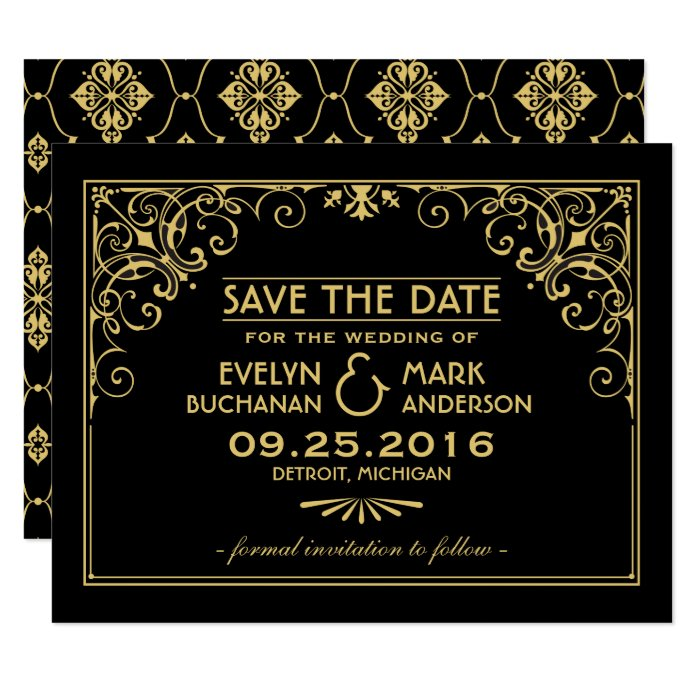 wedding save the date cards art deco style zazzle. Black Bedroom Furniture Sets. Home Design Ideas