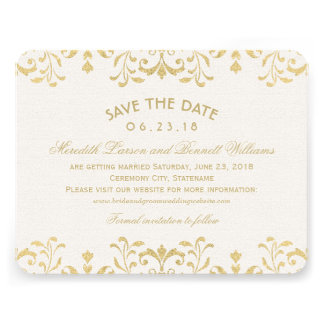 Wedding Save the Date Cards Gold Vintage Glamour