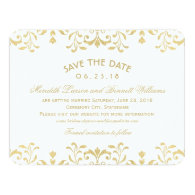 Wedding Save the Date Cards   Gold Vintage Glamour 4.25