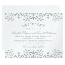 Wedding Save the Date Cards | Silver Vintage Glam
