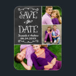 "Wedding Save the Date | Chalkboard Collage Magnet<br><div class=""desc"">Whimsical and unique two-sided photo collage announcement magnet save the dates feature a rustic textured look blackboard background with handwritten style fonts that have a white chalk appearance. Personalize with the wedding details and three (3) favorite engagement photos.</div>"