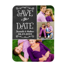 Wedding Save The Date | Chalkboard Collage Magnet at Zazzle
