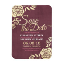 Wedding Save The Date Chic Gold Roses Burgundy Red Magnet