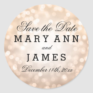 Wedding Save The Date Copper Glitter Lights Classic Round Sticker