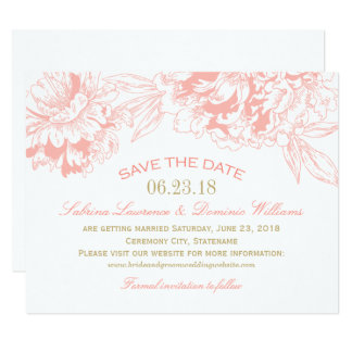 Wedding Save the Date | Coral Floral Peony Design Card