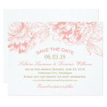 Wedding Save the Date | Coral Floral Peony Design Invitation