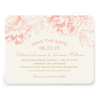Wedding Save the Date Coral Floral Peony Design Custom Invites