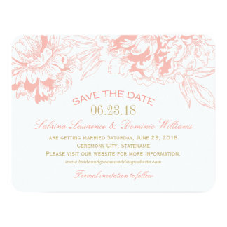 "Wedding Save the Date | Coral Floral Peony Design 4.25"" X 5.5"" Invitation Card"