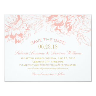 Wedding Save the Date | Coral Floral Peony Design 4.25x5.5 Paper Invitation Card