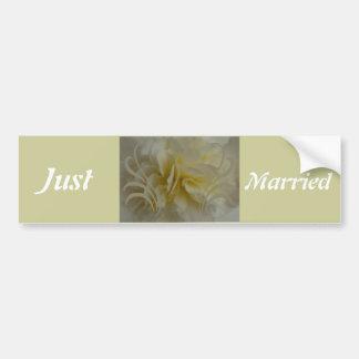 Wedding Save the Date Cream Floral Designs Car Bumper Sticker