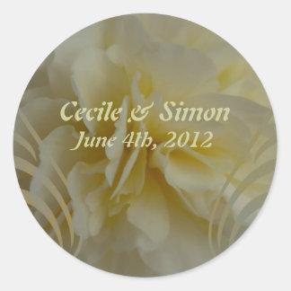 Wedding Save the Date Cream Floral Designs Classic Round Sticker