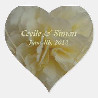 Wedding Save the Date Cream Floral Designs Heart Sticker