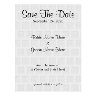 Wedding Save The Date Design Pale Gray Squares. Postcard