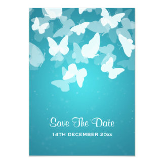Wedding Save The Date Elusive Butterflies Blue 5x7 Paper Invitation Card