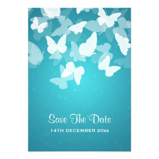 Wedding Save The Date Elusive Butterflies Blue Personalized Announcement