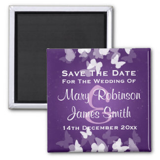 Wedding Save The Date Elusive Butterflies Purple 2 Inch Square Magnet