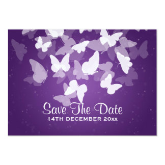 Wedding Save The Date Elusive Butterflies Purple Card