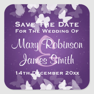 Wedding Save The Date Elusive Butterflies Purple Square Stickers