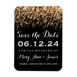 Wedding Save The Date Falling Stars Gold Flexible Magnet