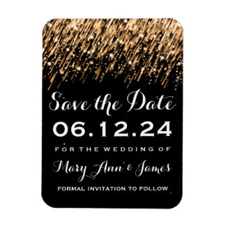 Wedding Save The Date Falling Stars Gold Rectangular Photo Magnet