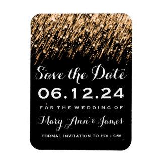 Wedding Save The Date Falling Stars Gold Rectangular Photo Magnet