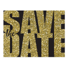 Faux Gold Glitter Save the Date Postcards