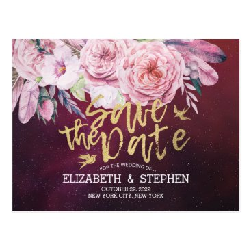 Wedding Themed Wedding Save The Date Floral Feathers Burgundy Red Postcard