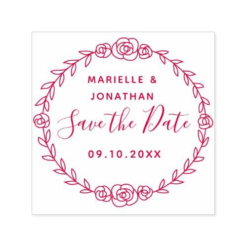 Wedding Save the Date Floral Rose Vine Circular Self_inking Stamp