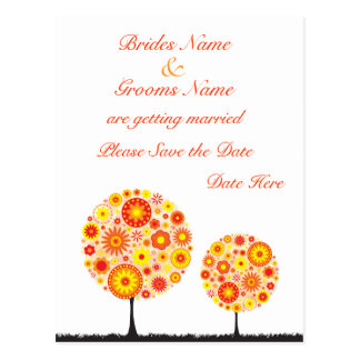 Wedding Save The Date - Flower Wishing Tree Postcard
