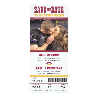 Wedding Save the Date Football Ticket 4x9.25 Paper Invitation Card