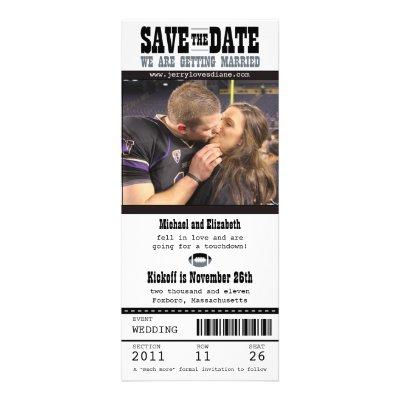 Football Ticket Wedding Save the Date Custom Invite