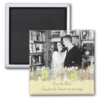 Wedding Save the Date Frame Add Photo Keepsake 2 Inch Square Magnet