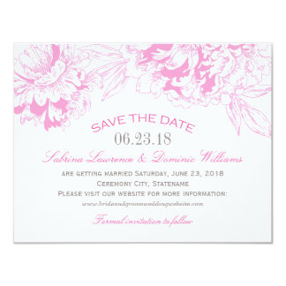 Wedding Save the Date | Fuchsi Floral Peony Design Card