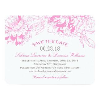 "Wedding Save the Date | Fuchsi Floral Peony Design 4.25"" X 5.5"" Invitation Card"