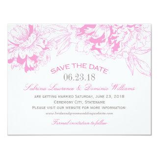 Wedding Save the Date | Fuchsi Floral Peony Design 4.25x5.5 Paper Invitation Card
