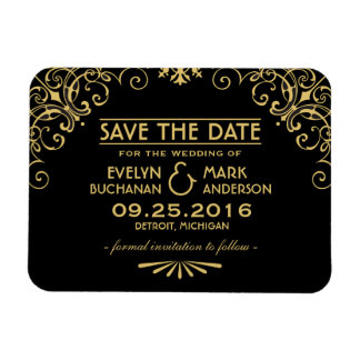 Wedding Save the Date   Gold Art Deco Style Magnet