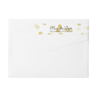 Wedding Save The Date Gold Foil Glitter Lights Wrap Around Label