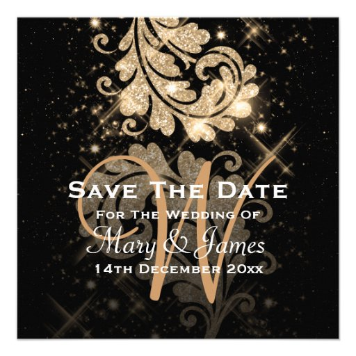 Wedding Save The Date Gold Glitter Floral Swirl Personalized Announcements