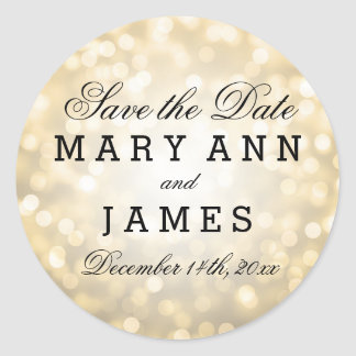 Wedding Save The Date Gold Glitter Lights Classic Round Sticker
