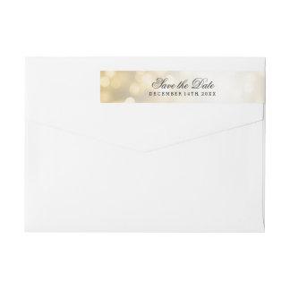 Wedding Save The Date Gold Glitter Lights Wraparound Return Address Label