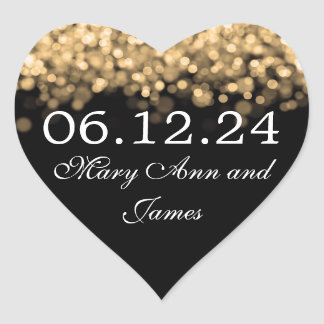 Wedding Save The Date Gold Lights Heart Sticker