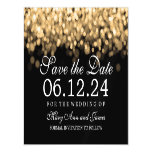 Wedding Save The Date Gold Lights Magnetic Card