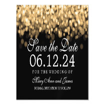 Wedding Save The Date Gold Lights Magnetic Invitation