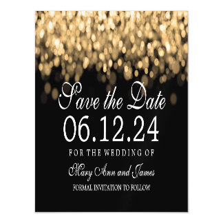 Wedding Save The Date Gold Lights Magnetic Invitations