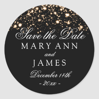 Wedding Save The Date Gold Midnight Glam Classic Round Sticker