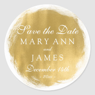 Wedding Save The Date Gold Paint Look Classic Round Sticker